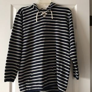 Tops - Striped hooded sweatshirt sweater